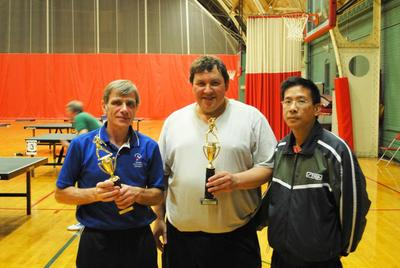 L to R: Leonid Sukher and Larry Bavly (Open Doubles Champions), Coach Liang (Vincent) Liung